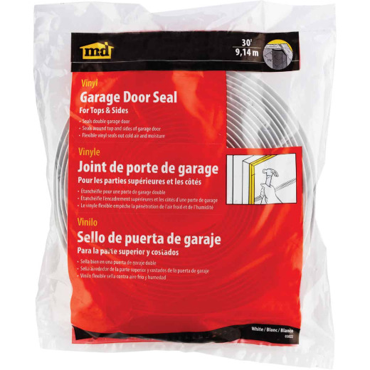 M-D 1-1/2 In. x 30 Ft. White Vina-Strip Garage Door Seal