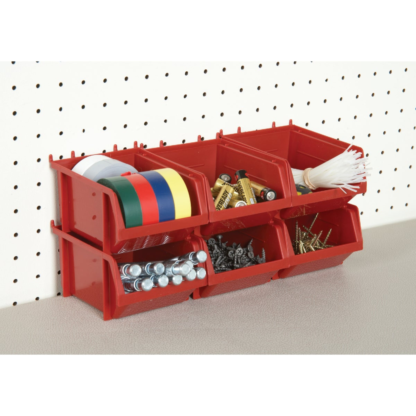 Quantum Storage Small Red Stackable Parts Bin (6-Pack) Image 2