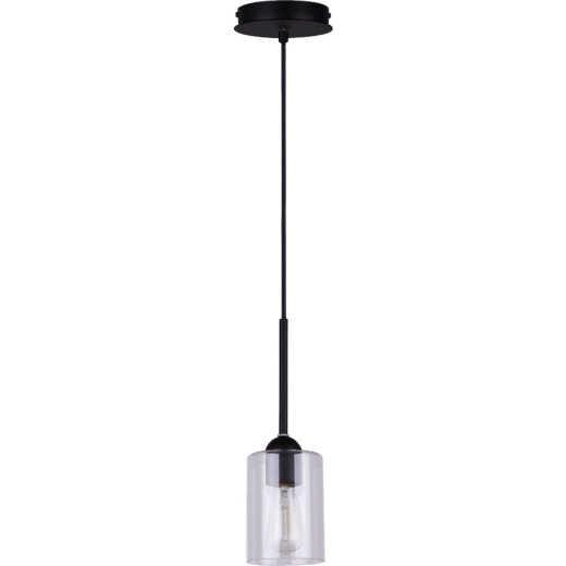 Home Impressions 1-Bulb Black Incandescent Cord Pendant Light Fixture, Clear Glass