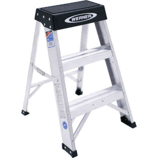 Werner 2 Ft. Aluminum Step Stool with 300 Lb. Load Capacity Type IA Ladder Rating