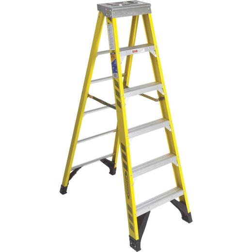 Werner 6 Ft. Fiberglass Step Ladder with 375 Lb. Load Capacity Type IAA Ladder Rating